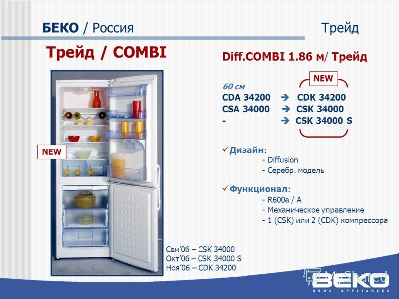 БЕКО / РоссияТрейд Трейд / COMBI Diff.COMBI 1.86 м/ Трейд 60 см CDA 34200 CDK 34200 CSA 34000 CSK 34000 - CSK 34000 S Дизайн: - Diffusion - Серебр. модель Функционал: - R600a / A - Механическое управление - 1 (CSK) или 2 (CDK) компрессора NEW Сен06 –