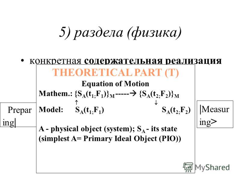 5) раздела (физика) конкретная содержательная реализация | Measur ing >