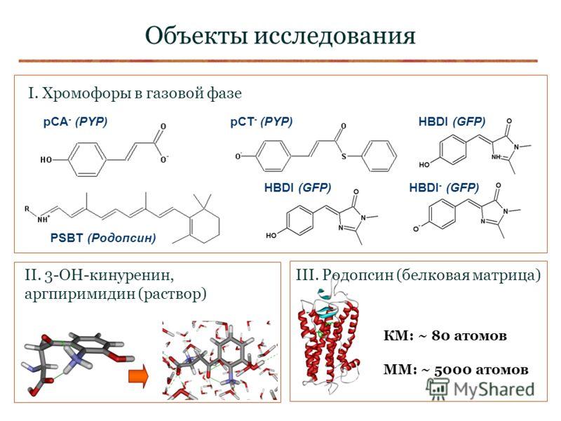 Объекты исследования pCA - (PYP) pCT - (PYP) PSBT (Родопсин) HBDI (GFP) HBDI - (GFP) I. Хромофоры в газовой фазе II. 3-OH-кинуренин, аргпиримидин (раствор) III. Родопсин (белковая матрица) КМ: ~ 80 атомов ММ: ~ 5000 атомов
