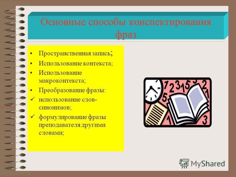 Пространственная запись ; Использование контекста; Использование макроконтекста; Преобразование фразы: использование слов- синонимов; формулирование фразы преподавателя другими словами; Основные способы конспектирования фраз