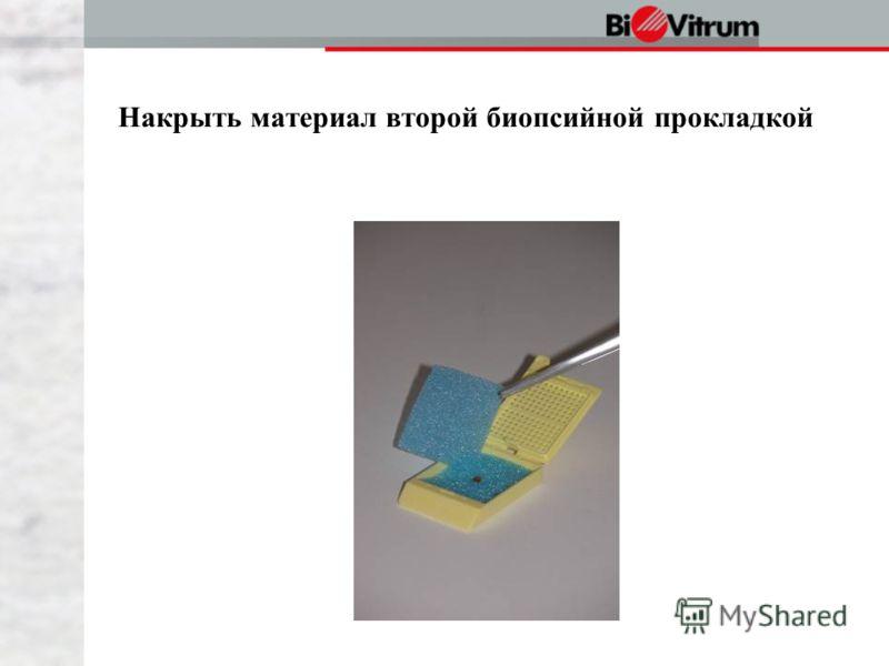 Накрыть материал второй биопсийной прокладкой