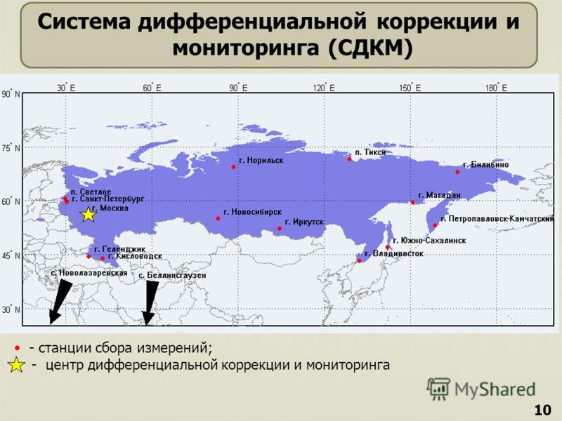 10 Система дифференциальной коррекции и мониторинга (СДКМ) - станции сбора измерений; - центр дифференциальной коррекции и мониторинга