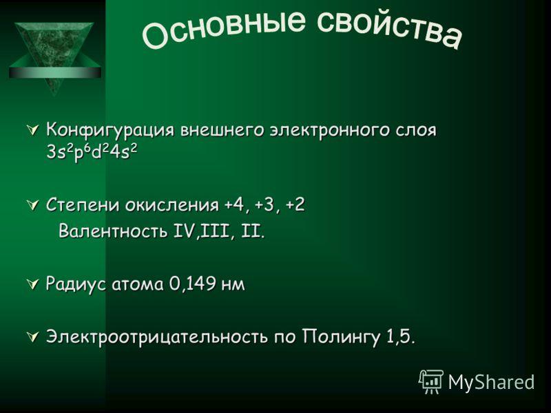 Конфигурация внешнего электронного слоя 3s 2 p 6 d 2 4s 2 Конфигурация внешнего электронного слоя 3s 2 p 6 d 2 4s 2 Степени окисления +4, +3, +2 Степени окисления +4, +3, +2 Валентность IV,III, II. Валентность IV,III, II. Радиус атома 0,149 нм Радиус