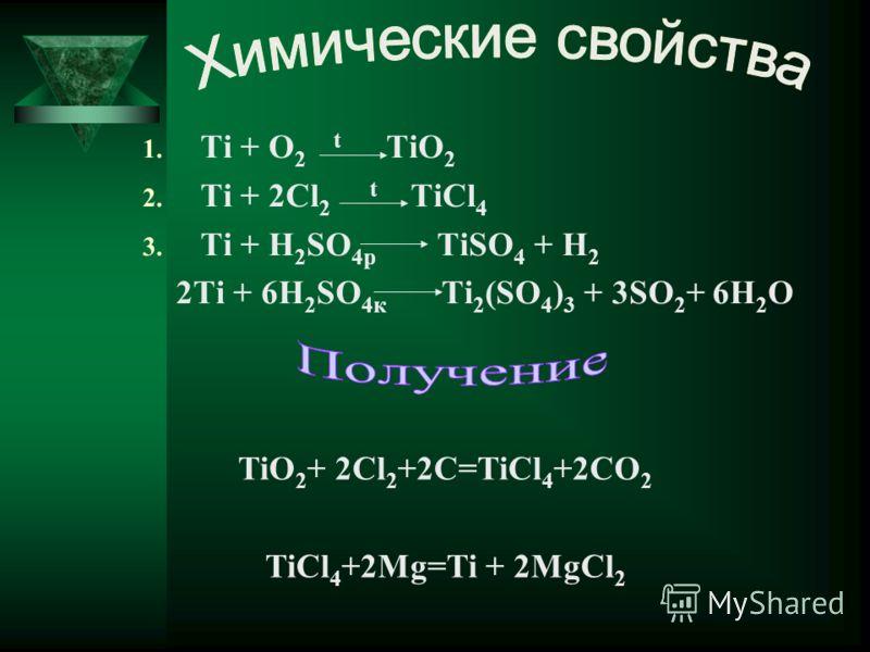 1. Ti + O 2 t TiO 2 2. Ti + 2Cl 2 t TiCl 4 3. Ti + H 2 SO 4р TiSO 4 + H 2 2Ti + 6H 2 SO 4к Ti 2 (SO 4 ) 3 + 3SO 2 + 6H 2 O TiO 2 + 2Cl 2 +2C=TiCl 4 +2CO 2 TiCl 4 +2Mg=Ti + 2MgCl 2