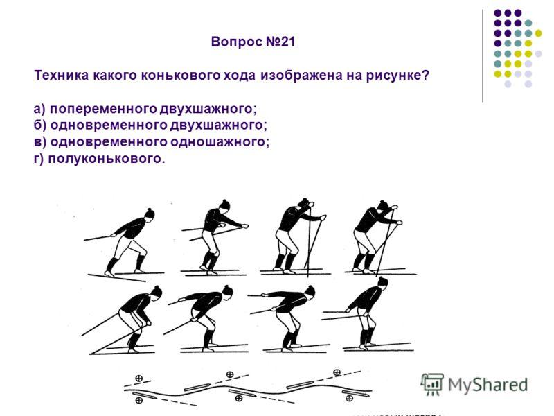 Вопрос 21 Техника какого конькового хода изображена на рисунке? а) попеременного двухшажного; б) одновременного двухшажного; в) одновременного одношажного; г) полуконькового.