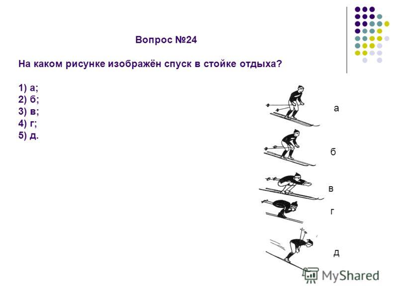 Вопрос 24 На каком рисунке изображён спуск в стойке отдыха? 1) а; 2) б; 3) в; 4) г; 5) д. а б в г д