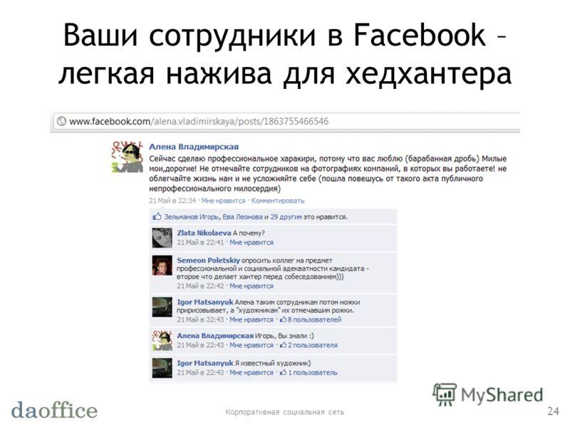 Ваши сотрудники в Facebook – легкая нажива для хедхантера Корпоративная социальная сеть 24