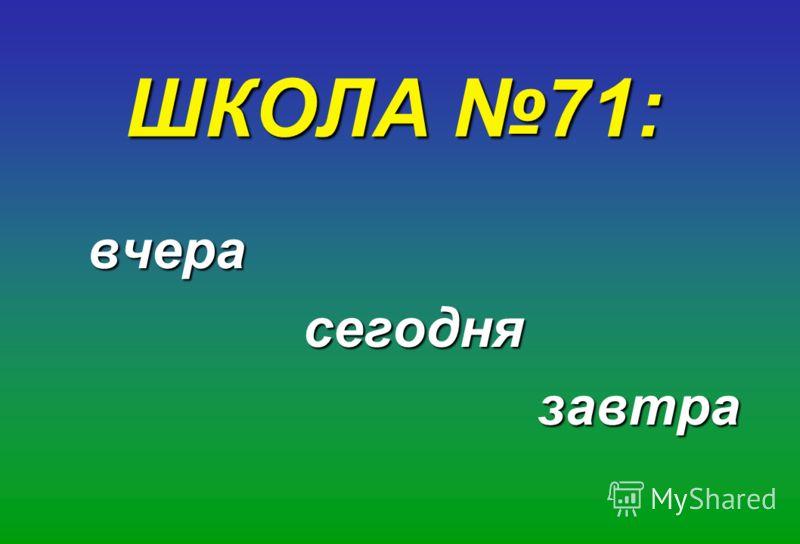 ШКОЛА 71: вчерасегоднязавтра