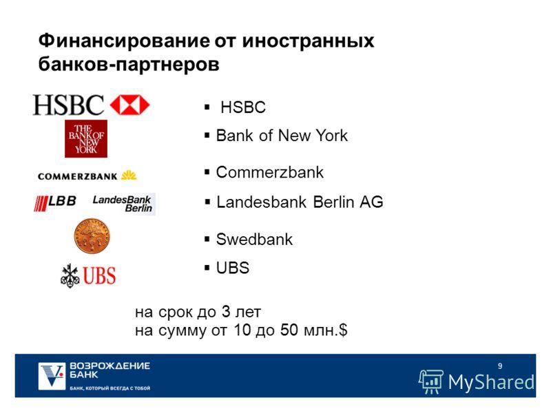9 Финансирование от иностранных банков-партнеров на срок до 3 лет на сумму от 10 до 50 млн.$ Bank of New York Commerzbank UBS Swedbank Landesbank Berlin AG HSBC