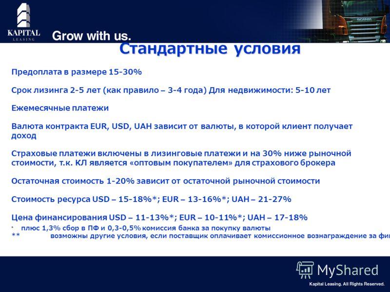 14 Стандартные условия Предоплата в размере 15-30% Срок лизинга 2-5 лет (как правило – 3-4 года) Для недвижимости: 5-10 лет Ежемесячные платежи Валюта контракта EUR, USD, UAH зависит от валюты, в которой клиент получает доход Страховые платежи включе