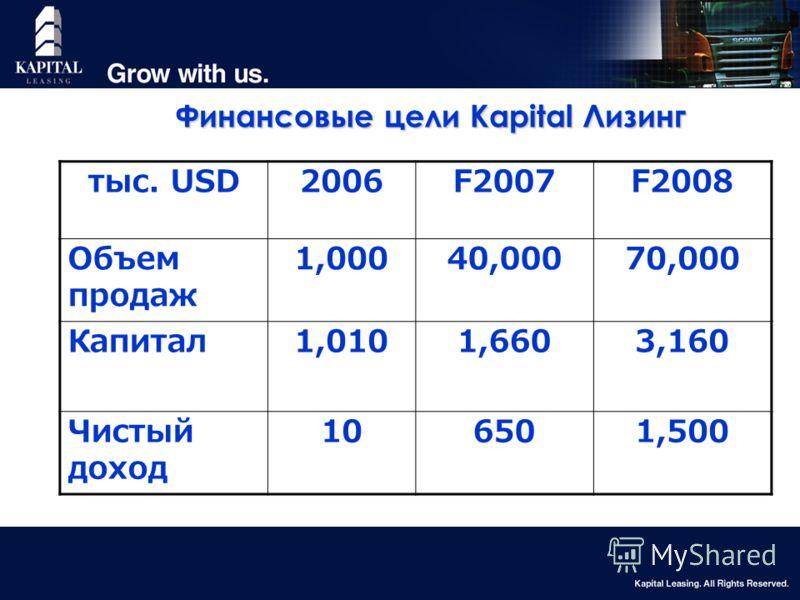 18 Финансовые цели Kapital Лизинг тыс. USD2006F2007F2008 Объем продаж 1,00040,00070,000 Капитал1,0101,6603,160 Чистый доход 106501,500