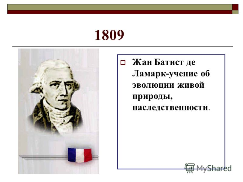 1809 Жан Батист де Ламарк-учение об эволюции живой природы, наследственности.