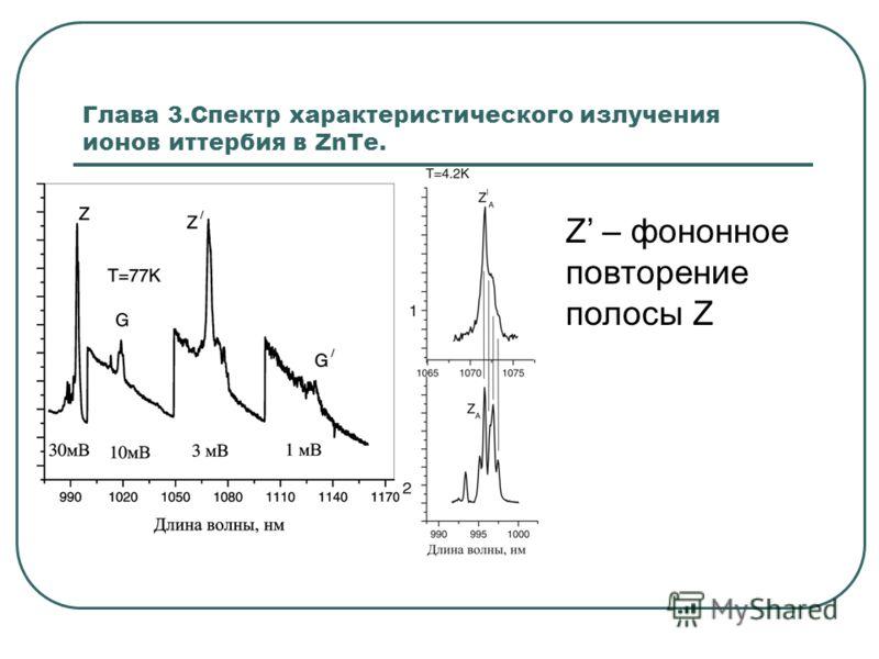 Глава 3.Спектр характеристического излучения ионов иттербия в ZnTe. Z – фононное повторение полосы Z