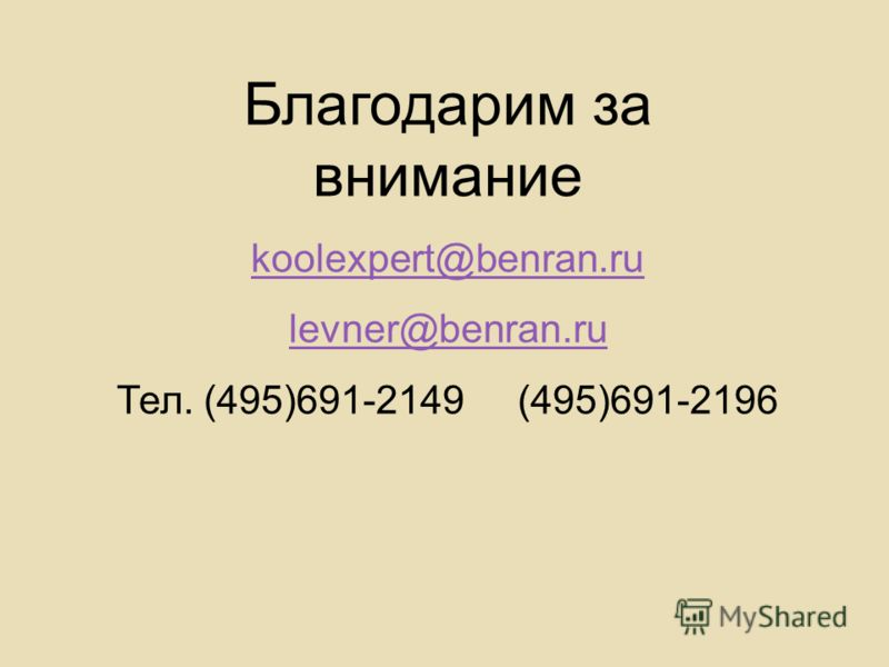 Благодарим за внимание koolexpert@benran.ru levner@benran.ru Тел. (495)691-2149 (495)691-2196