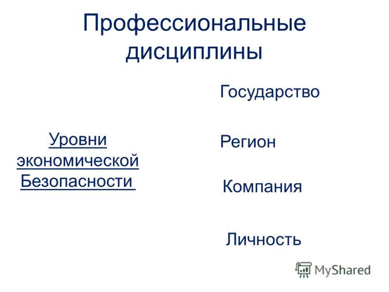 Уровни экономической Безопасности Государство Регион Компания Личность Профессиональные дисциплины