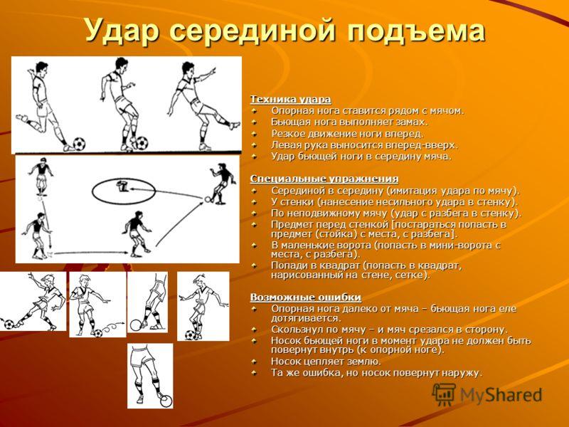 Удар серединой подъема Техника удара Опорная нога ставится рядом с мячом. Бьющая нога выполняет замах. Резкое движение ноги вперед. Левая рука выносится вперед-вверх. Удар бьющей ноги в середину мяча. Специальные упражнения Серединой в середину (имит
