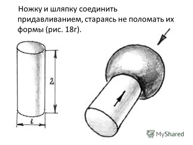Ножку и шляпку соединить придавливанием, стараясь не поломать их формы (рис. 18г).
