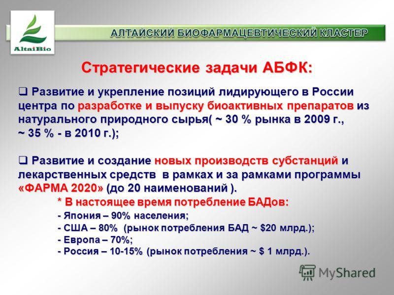 Стратегические задачи АБФК: Развитие и укрепление позиций лидирующего в России центра по разработке и выпуску биоактивных препаратов из натурального природного сырья( ~ 30 % рынка в 2009 г., ~ 35 % - в 2010 г.); Развитие и укрепление позиций лидирующ