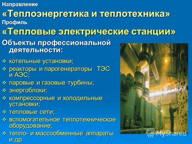 Объекты профессиональной деятельности: котельные установки; котельные установки; реакторы и парогенераторы ТЭС и АЭС; реакторы и парогенераторы ТЭС и АЭС; паровые и газовые турбины; паровые и газовые турбины; энергоблоки; энергоблоки; компрессорные и