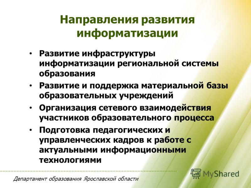 Департамент образования Ярославской области Развитие инфраструктуры информатизации региональной системы образования Развитие и поддержка материальной базы образовательных учреждений Организация сетевого взаимодействия участников образовательного проц