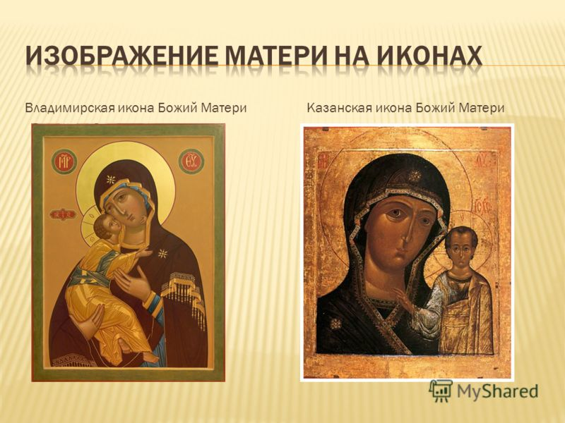 Владимирская икона Божий Матери Казанская икона Божий Матери