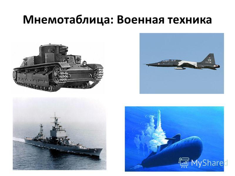 Мнемотаблица: Военная техника