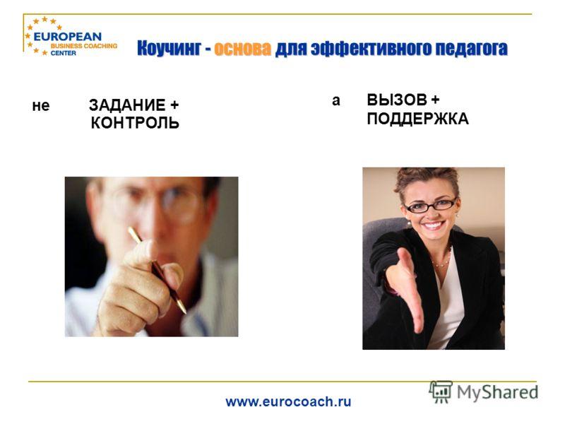 не ЗАДАНИЕ + КОНТРОЛЬ а ВЫЗОВ + ПОДДЕРЖКА www.eurocoach.ru Коучинг - основа для эффективного педагога