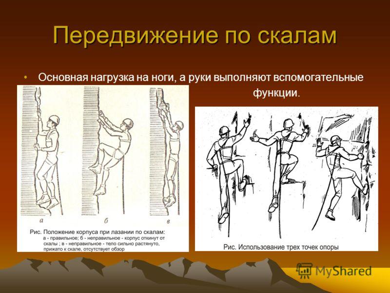 Передвижение по скалам Основная нагрузка на ноги, а руки выполняют вспомогательные функции.