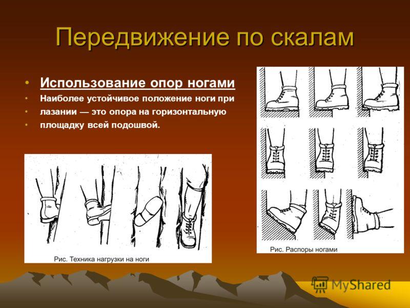 Передвижение по скалам Использование опор ногами Наиболее устойчивое положение ноги при лазании это опора на горизонтальную площадку всей подошвой.