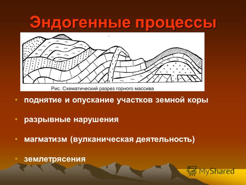Эндогенные процессы поднятие и опускание участков земной коры разрывные нарушения магматизм (вулканическая деятельность) землетрясения