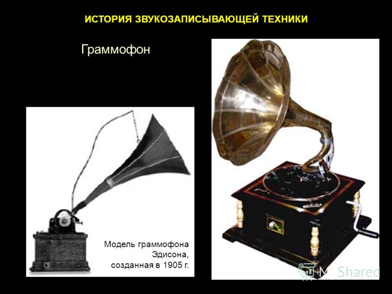 ИСТОРИЯ ЗВУКОЗАПИСЫВАЮЩЕЙ ТЕХНИКИ Модель граммофона Эдисона, созданная в 1905 г. Граммофон