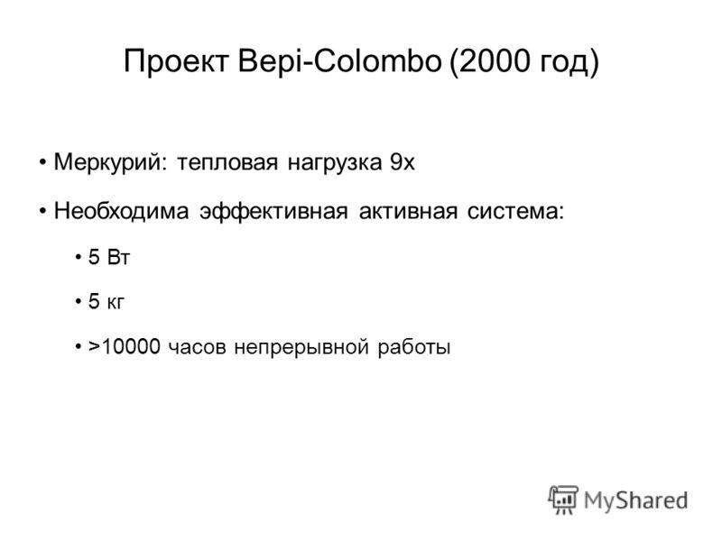 Проект Bepi-Colombo (2000 год) Меркурий: тепловая нагрузка 9х Необходима эффективная активная система: 5 Вт 5 кг >10000 часов непрерывной работы