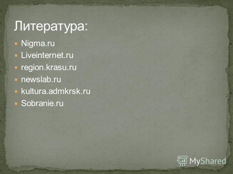 Nigma.ru Liveinternet.ru region.krasu.ru newslab.ru kultura.admkrsk.ru Sobranie.ru