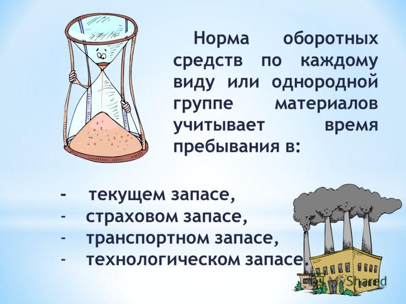 Норма оборотных средств по каждому виду или однородной группе материалов учитывает время пребывания в: - текущем запасе, - страховом запасе, - транспортном запасе, - технологическом запасе.
