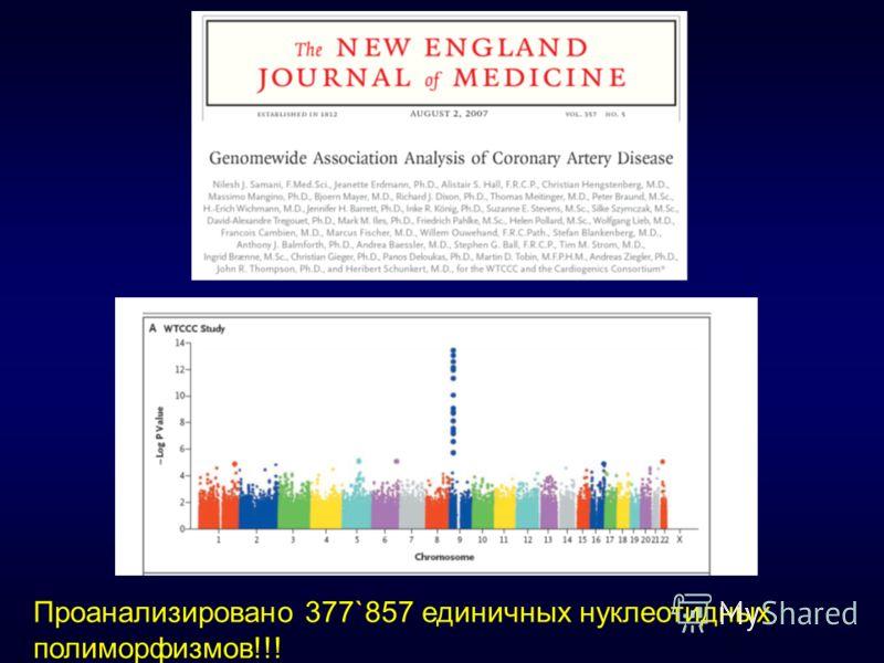 Проанализировано 377`857 единичных нуклеотидных полиморфизмов!!!