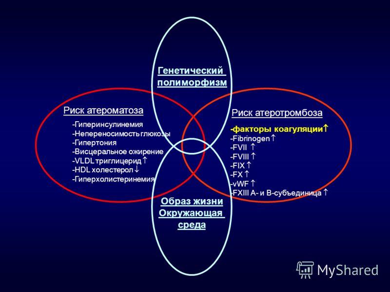 Риск атероматоза Риск атеротромбоза -Гиперинсулинемия -Непереносимость глюкозы -Гипертония -Висцеральное ожирение -VLDL триглицерид -HDL холестерол -Гиперхолистеринемия - факторы коагуляции -Fibrinogen -FVII -FVIII -FIX -FX -vWF -FXIII A- и B-субъеди