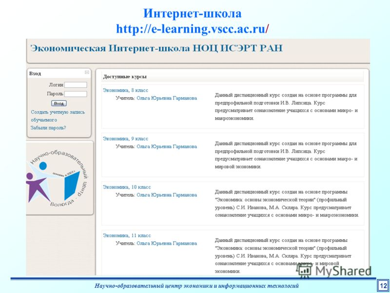 1212 Интернет-школа http://e-learning.vscc.ac.ru/