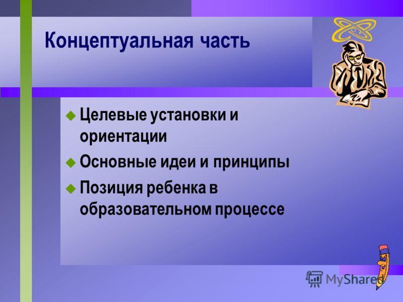 Концептуальная часть Целевые установки и ориентации Основные идеи и принципы Позиция ребенка в образовательном процессе