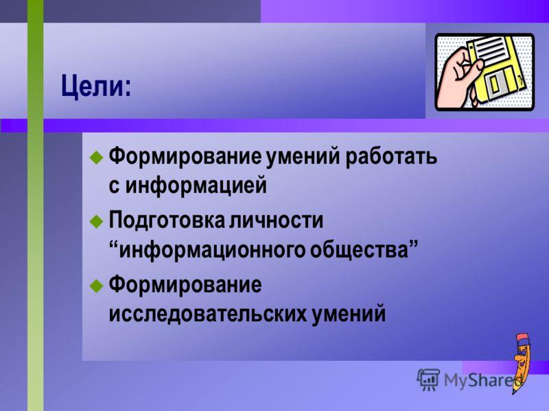 Цели: Формирование умений работать с информацией Подготовка личности информационного общества Формирование исследовательских умений