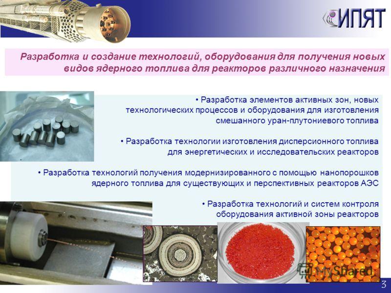 Разработка элементов активных зон, новых технологических процессов и оборудования для изготовления смешанного уран-плутониевого топлива Разработка технологии изготовления дисперсионного топлива для энергетических и исследовательских реакторов Разрабо