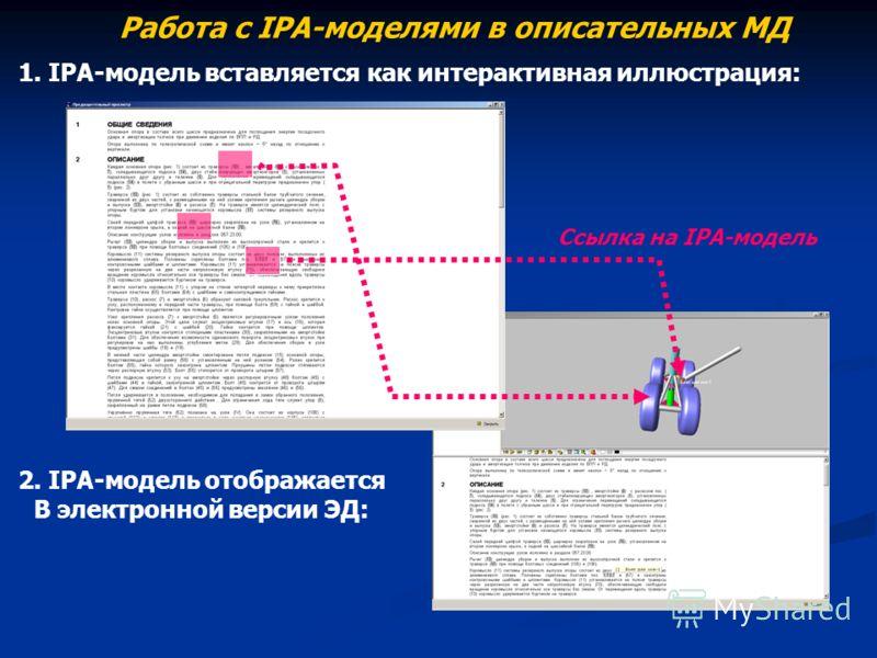 Работа с IPA-моделями в описательных МД Ссылка на IPA-модель 1. IPA-модель вставляется как интерактивная иллюстрация: 2. IPA-модель отображается В электронной версии ЭД: