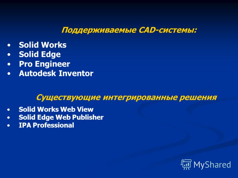 Solid Works Solid Edge Pro Engineer Autodesk Inventor Поддерживаемые CAD-системы: Существующие интегрированные решения Solid Works Web View Solid Edge Web Publisher IPA Professional