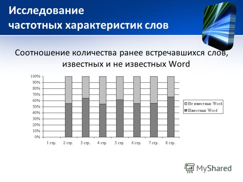 Исследование частотных характеристик слов Соотношение количества ранее встречавшихся слов, известных и не известных Word