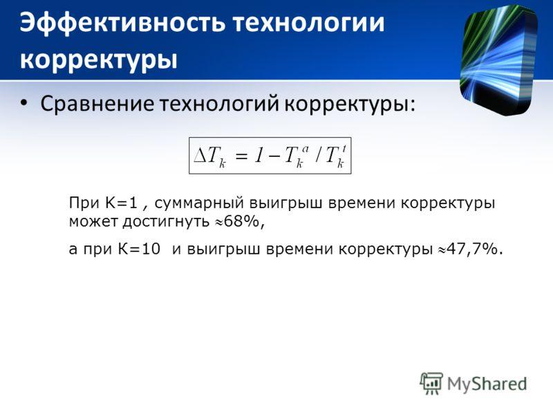 Эффективность технологии корректуры Сравнение технологий корректуры: При K=1, суммарный выигрыш времени корректуры может достигнуть 68%, а при К=10 и выигрыш времени корректуры 47,7%.