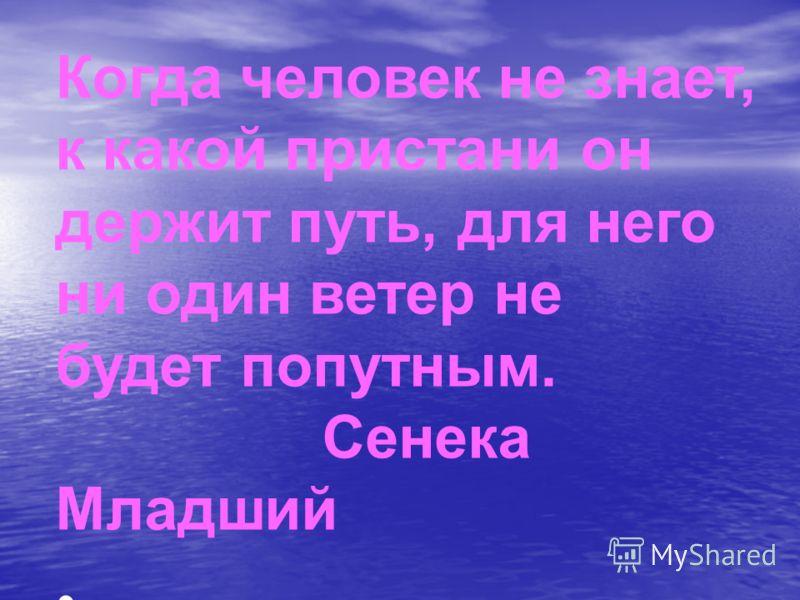 Когда человек не знает, к какой пристани он держит путь, для него ни один ветер не будет попутным. Сенека Младший