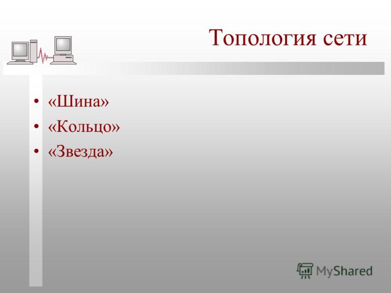 Топология сети «Шина» «Кольцо» «Звезда»