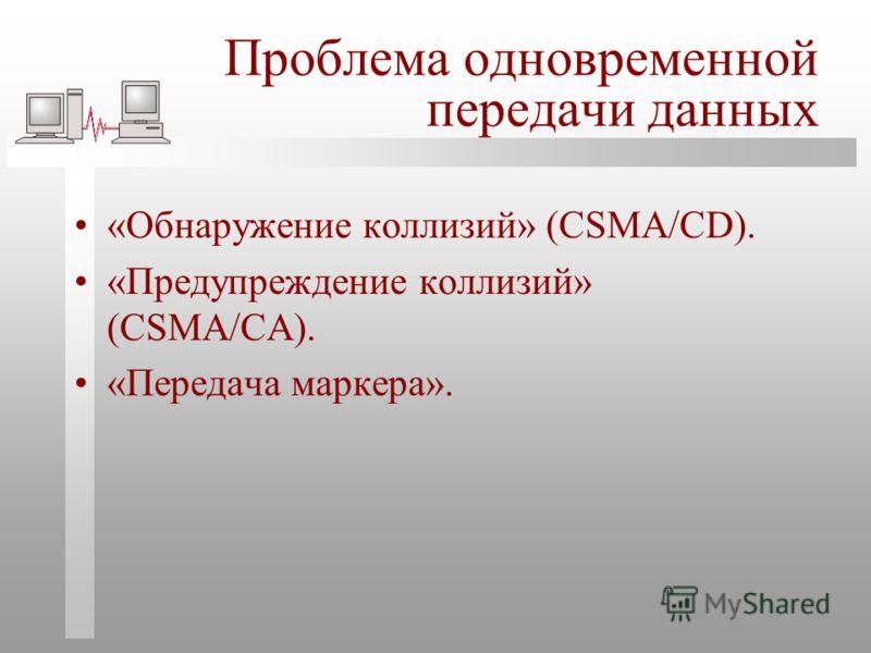 Проблема одновременной передачи данных «Обнаружение коллизий» (CSMA/CD). «Предупреждение коллизий» (CSMA/CA). «Передача маркера».