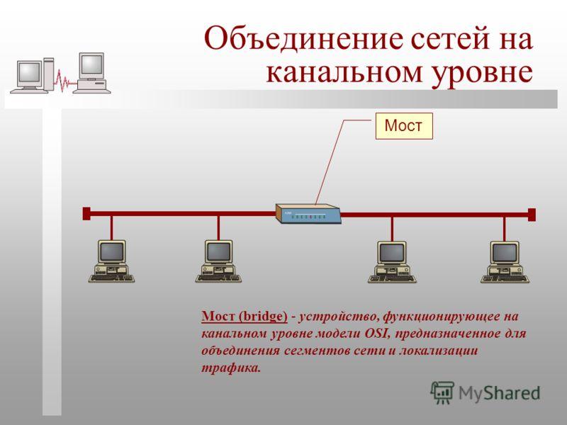 Объединение сетей на канальном уровне Мост (bridge) - устройство, функционирующее на канальном уровне модели OSI, предназначенное для объединения сегментов сети и локализации трафика.