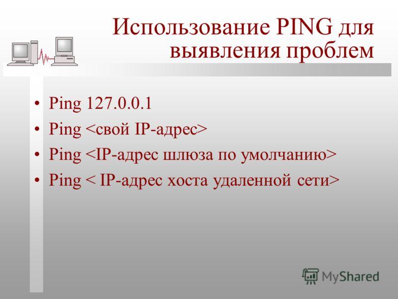 Использование PING для выявления проблем Ping 127.0.0.1 Ping