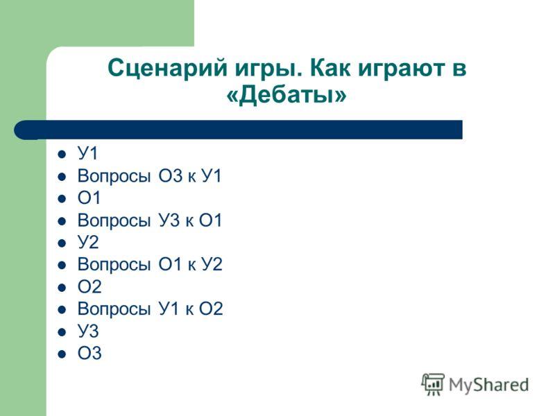 Сценарий игры. Как играют в «Дебаты» У1 Вопросы О3 к У1 О1 Вопросы У3 к О1 У2 Вопросы О1 к У2 О2 Вопросы У1 к О2 У3 О3